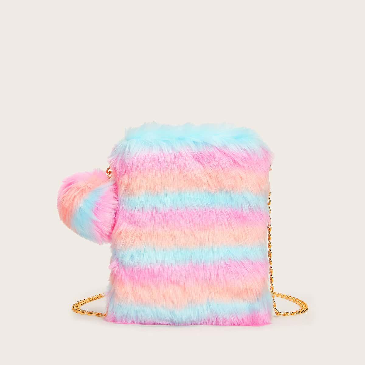 Контрастная плюшевая сумка на цепочке с помпоном