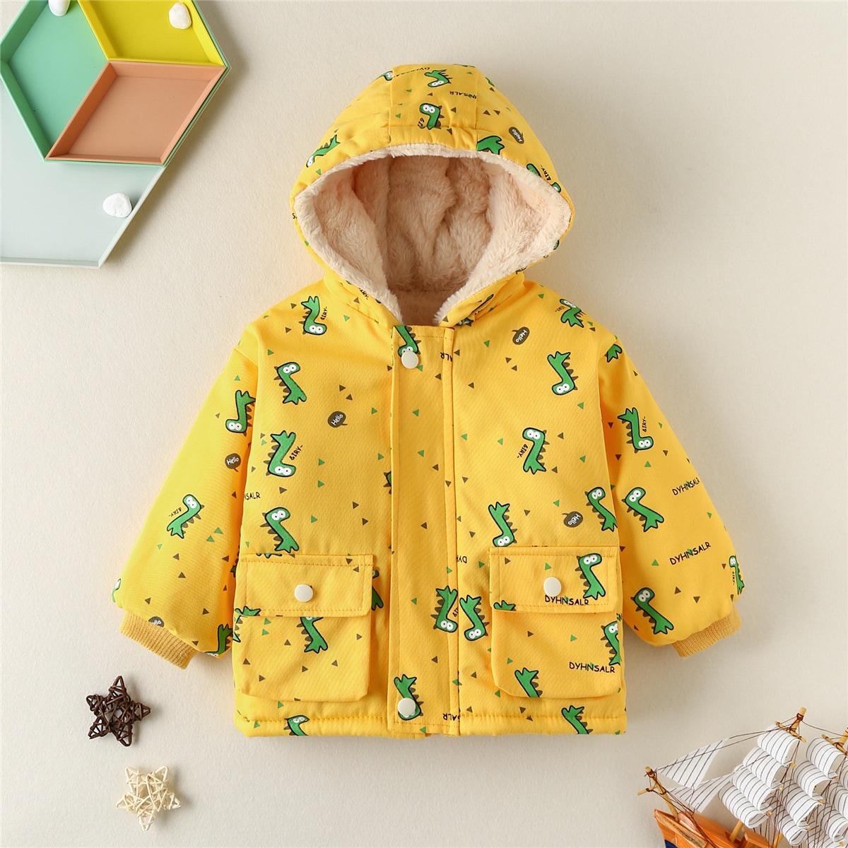 С карманами с карикатурой повседневный пальто для маленьких мальчиков