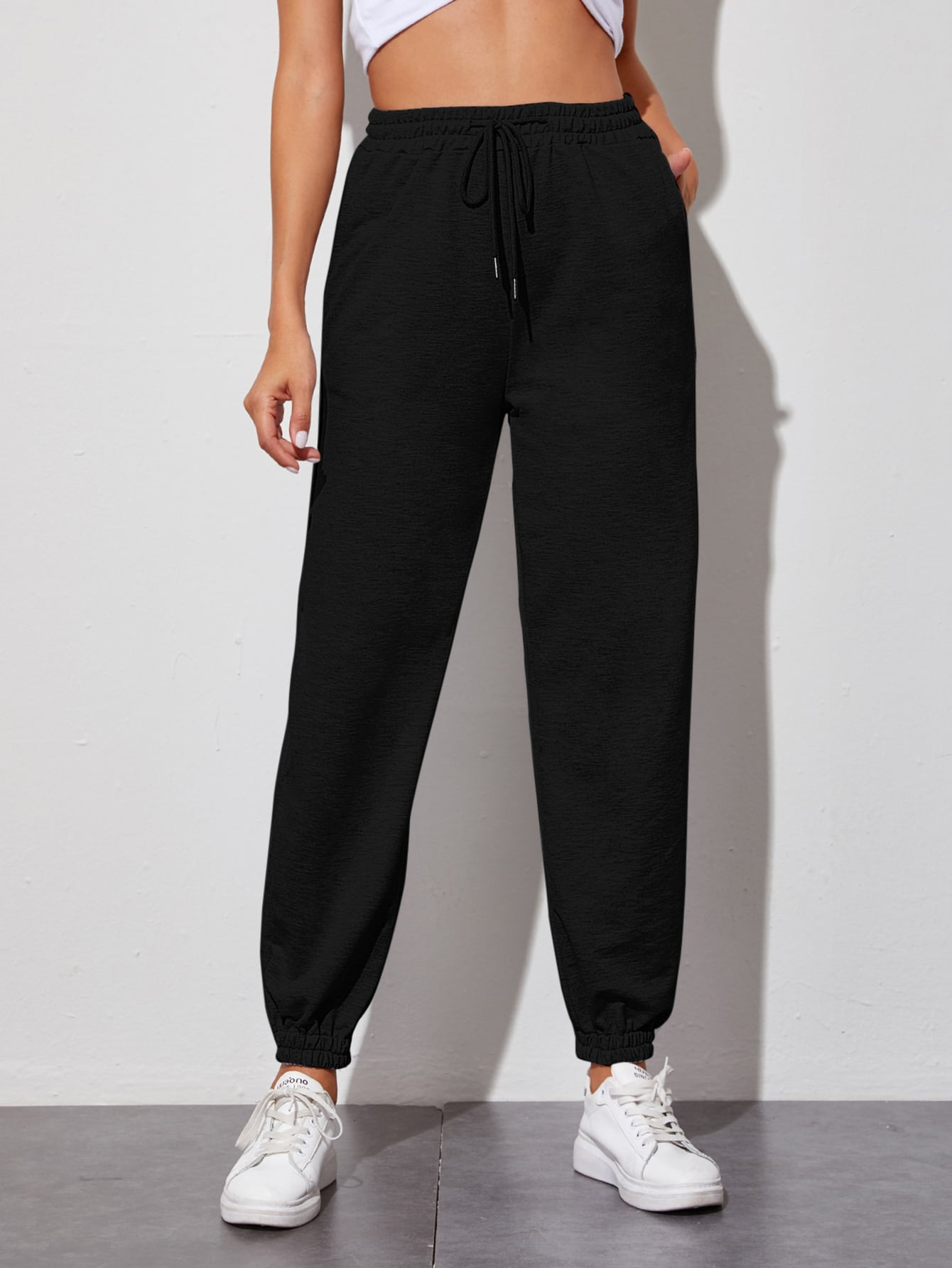 Slant Pocket Drawstring Waist Sweatpants thumbnail