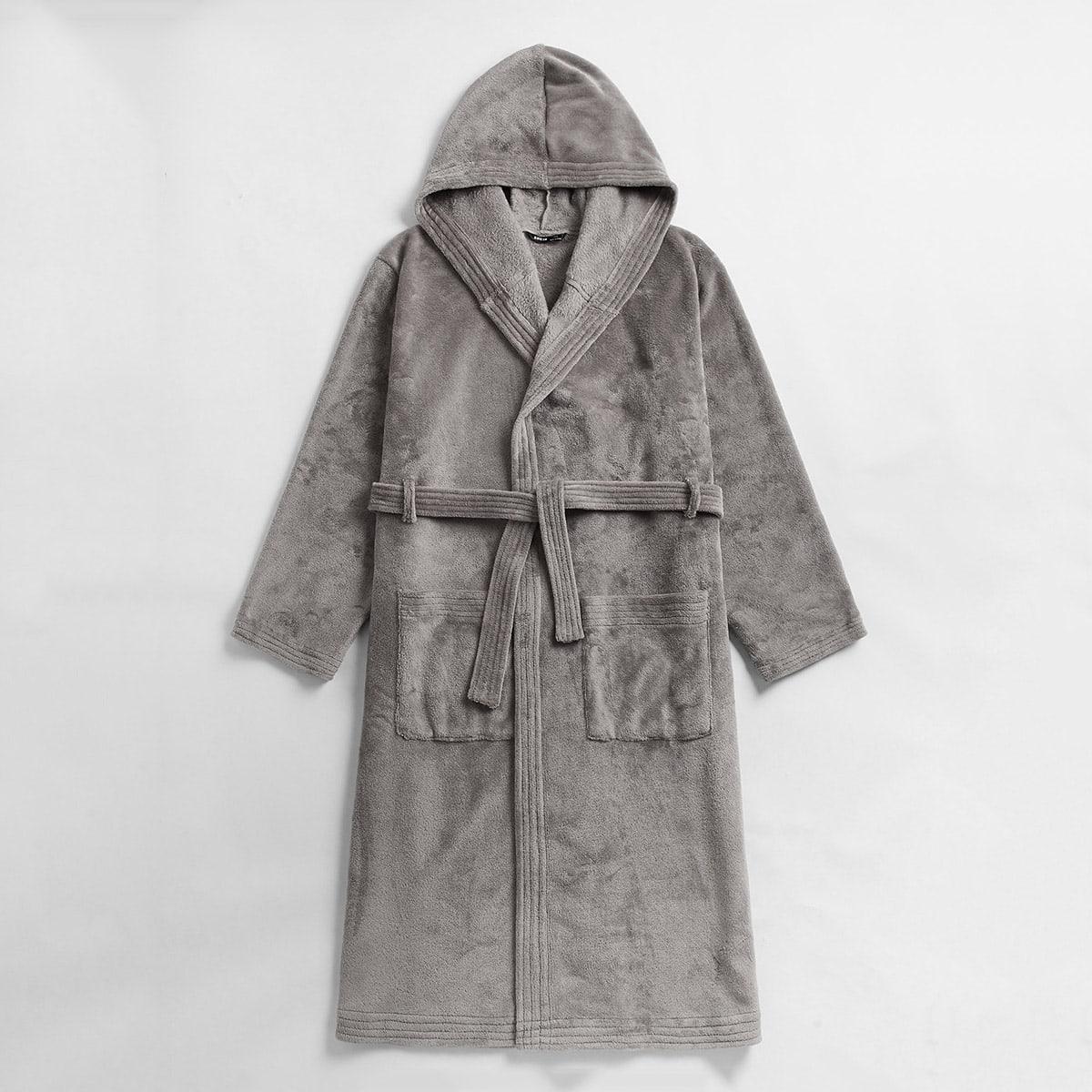 Мужской фланелевый халат с поясом и карманом