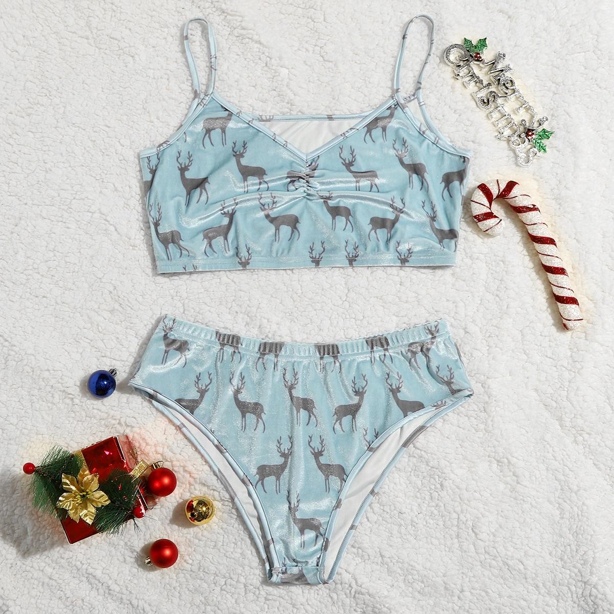 Комплект бархатного нижнего белья размера плюс с принтом рождественского оленя
