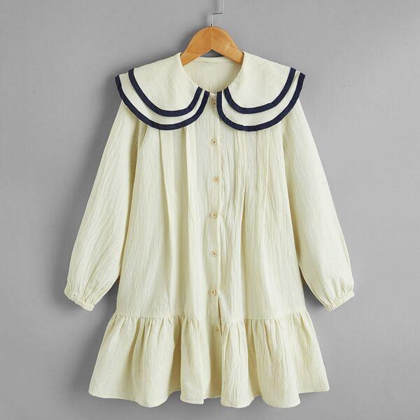 Girls Peter Pan Collar Ruffle Hem Babydoll Dress, Beige