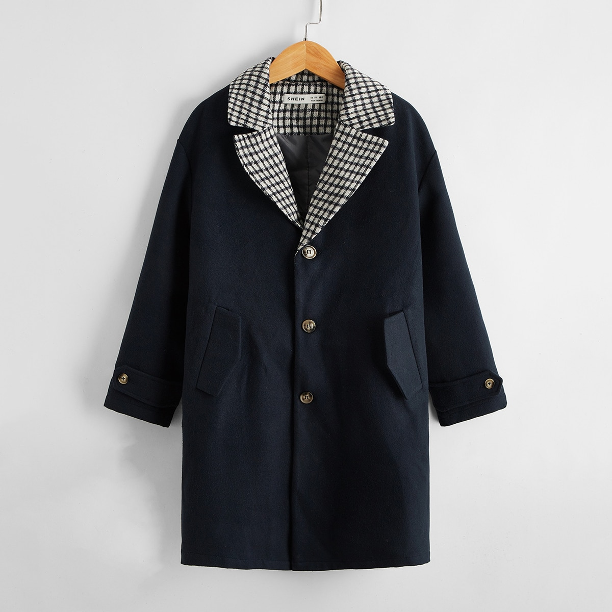 Boys Single Button Wool-Mix Fabric Overcoat