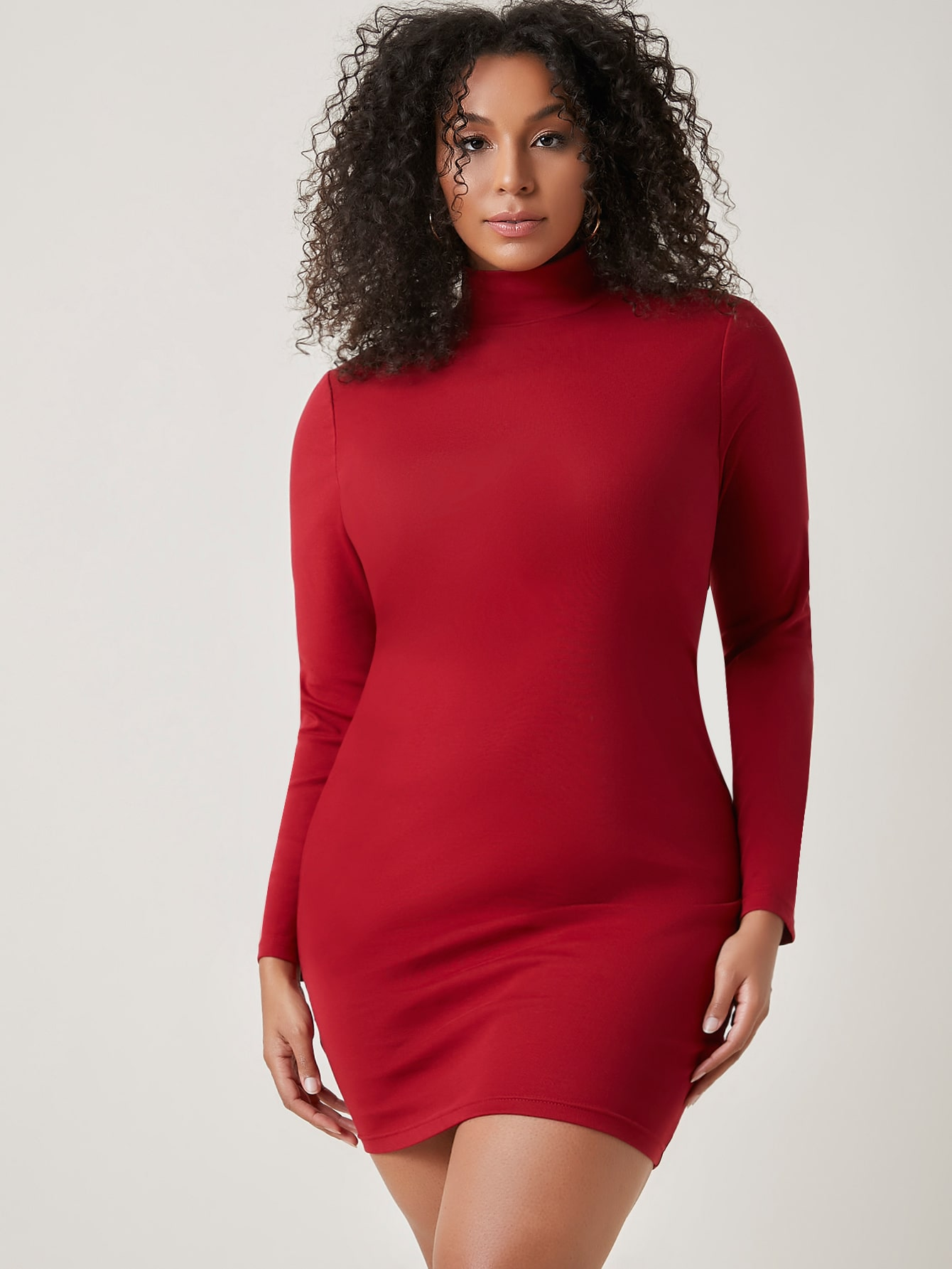 Plus Mock Neck Solid Dress thumbnail