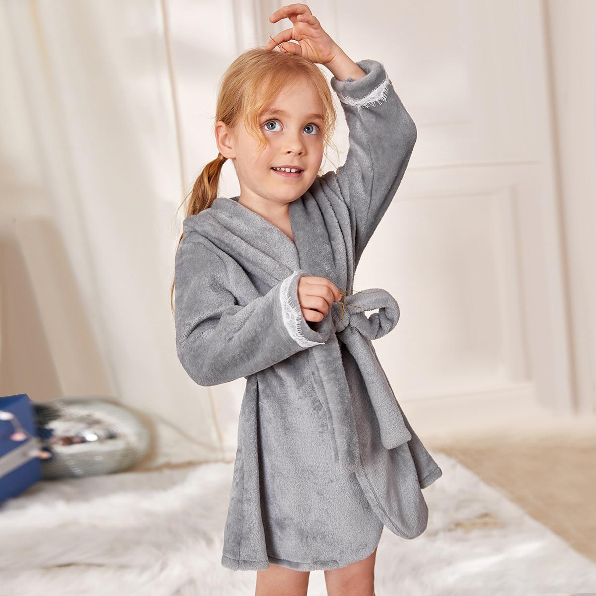 С поясом одноцветный повседневный домашняя одежда для девочек