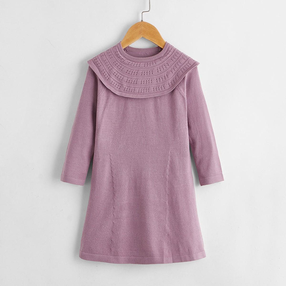 Одноцветный милый трикотажные платья для девочек
