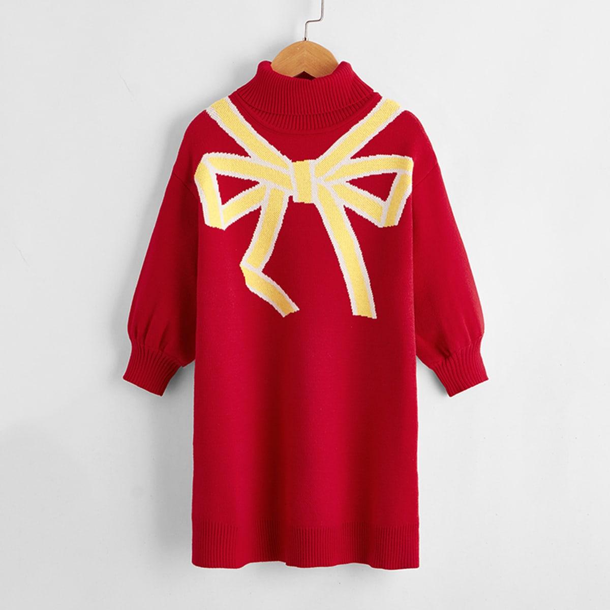 Графический принт повседневный трикотажные платья для девочек
