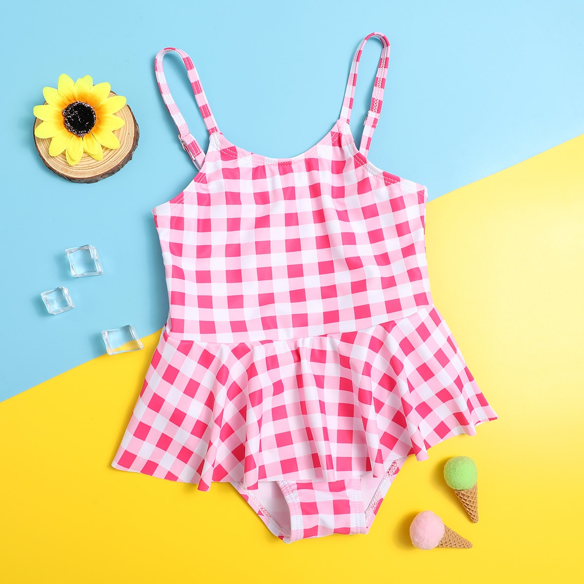 Toddler Girls Gingham Ruffle One Piece Swimsuit, SHEIN  - buy with discount