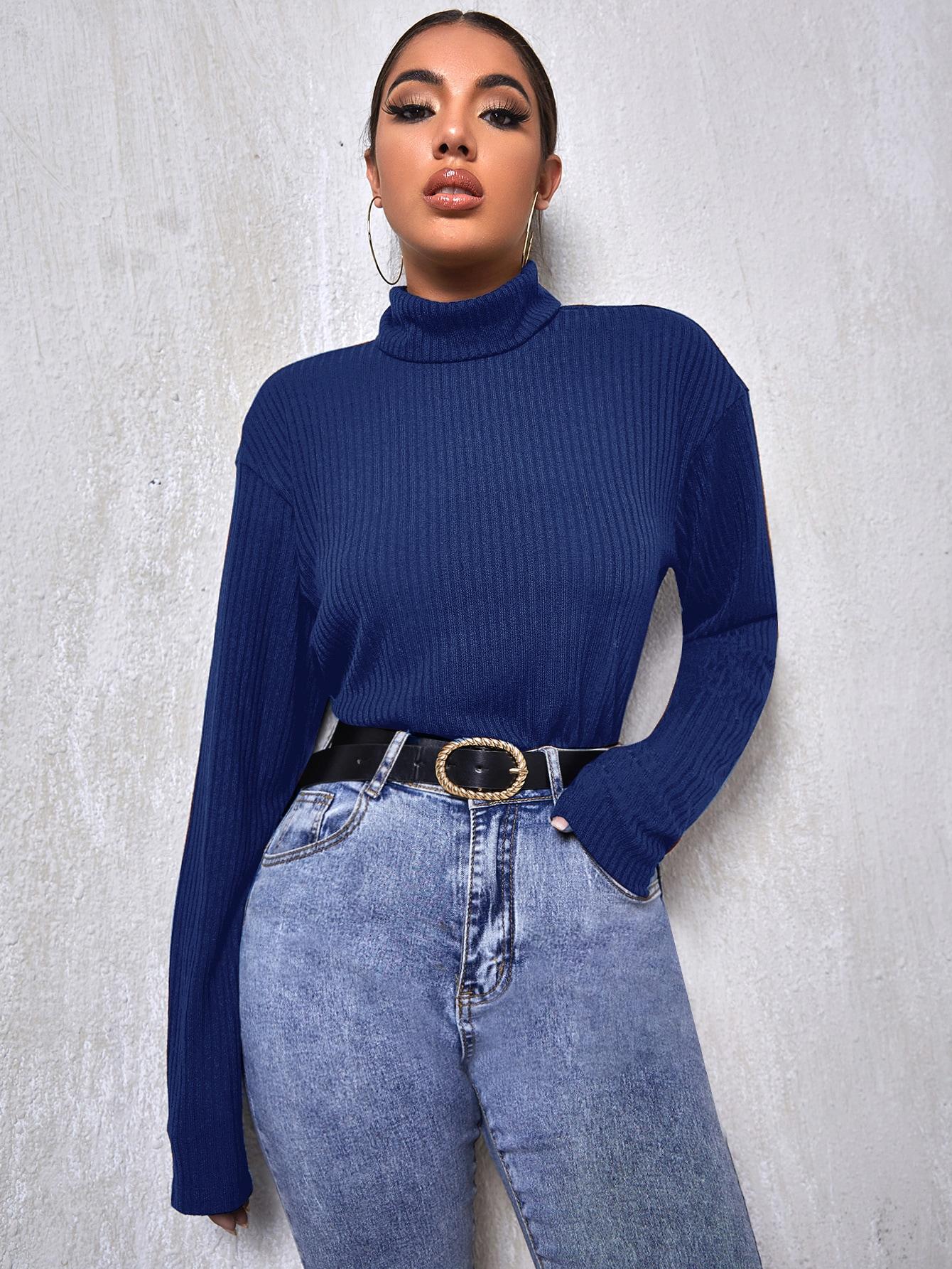High Neck Drop Shoulder Rib-knit Tee thumbnail