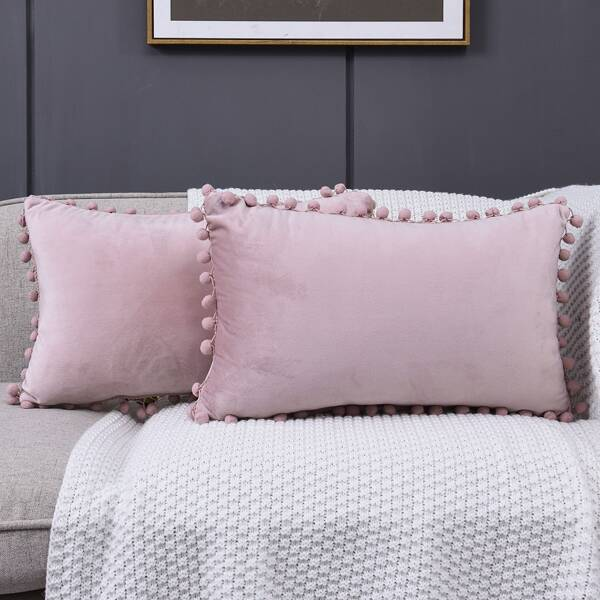 1pc Pom Pom Decor Lumbar Pillow Cover Without Filler, Pink