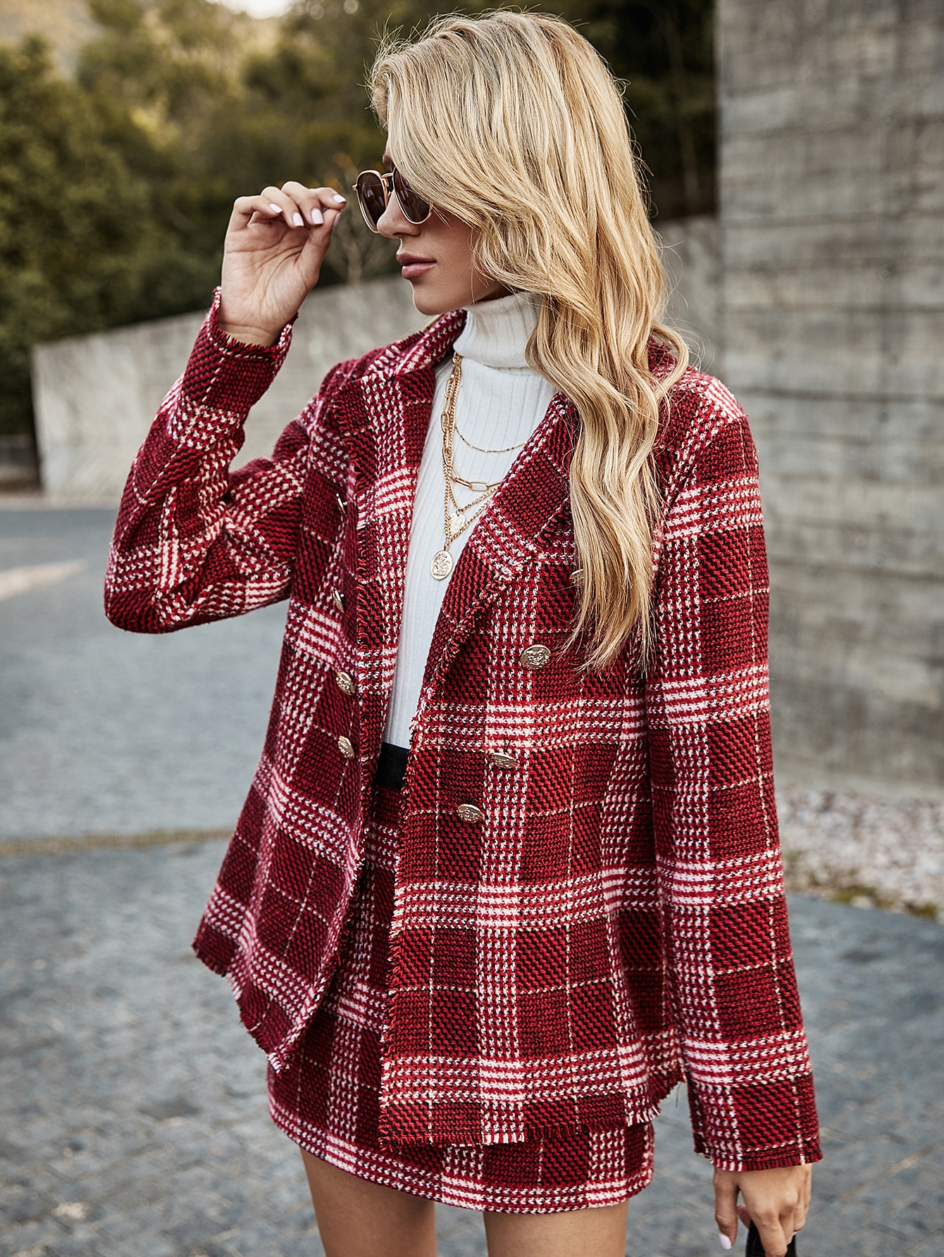 Tweed Plaid Print Double Breasted Blazer With Skirt thumbnail