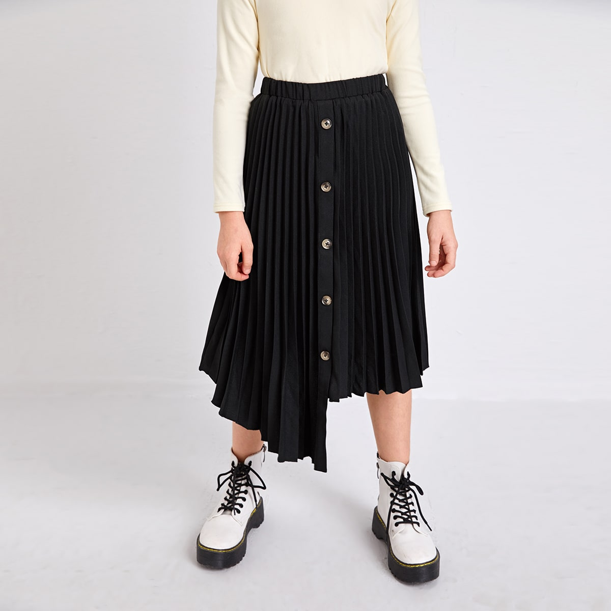 Асимметричный одноцветный повседневный юбки для девочек