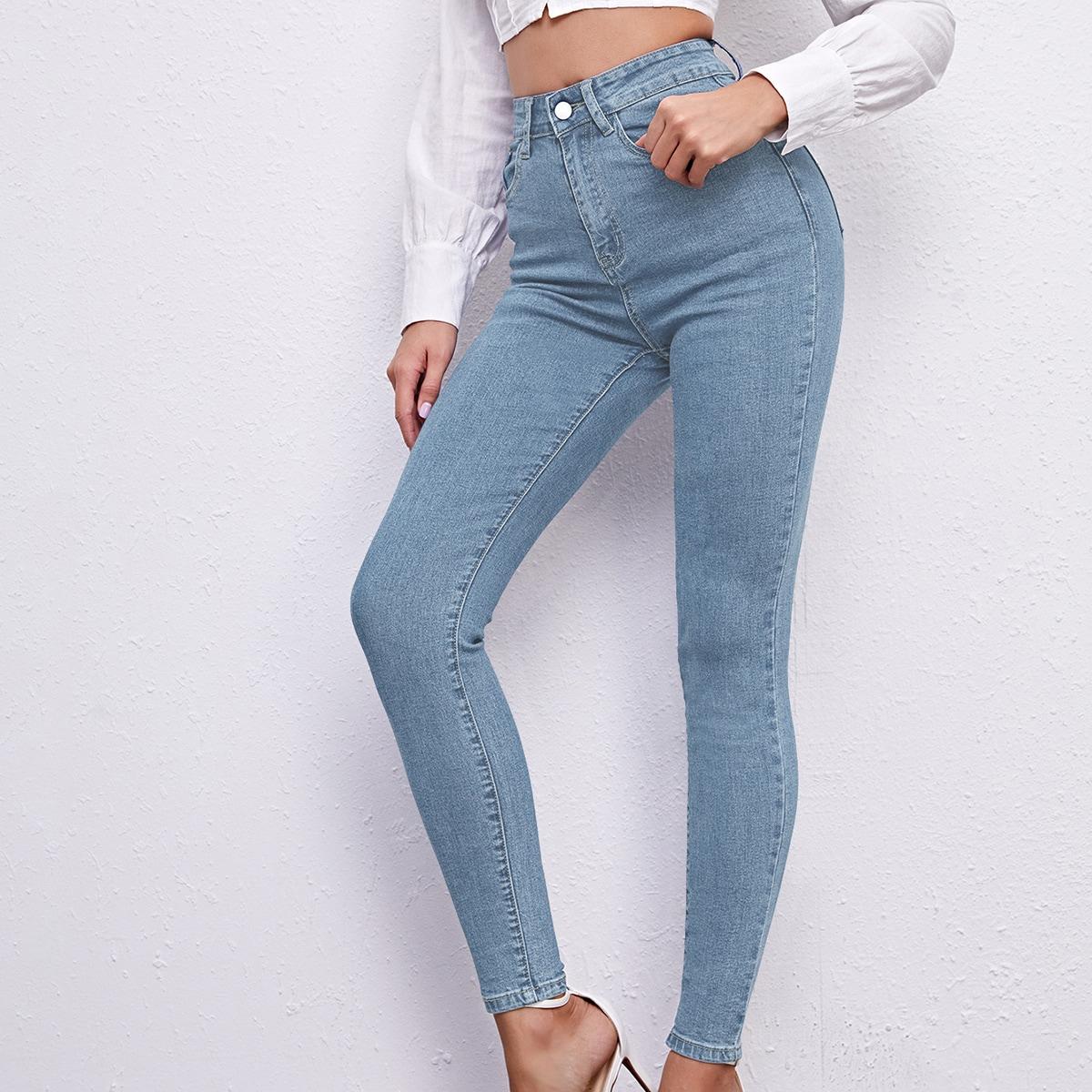 Рваные джинсы скинни с высокой эластичностью
