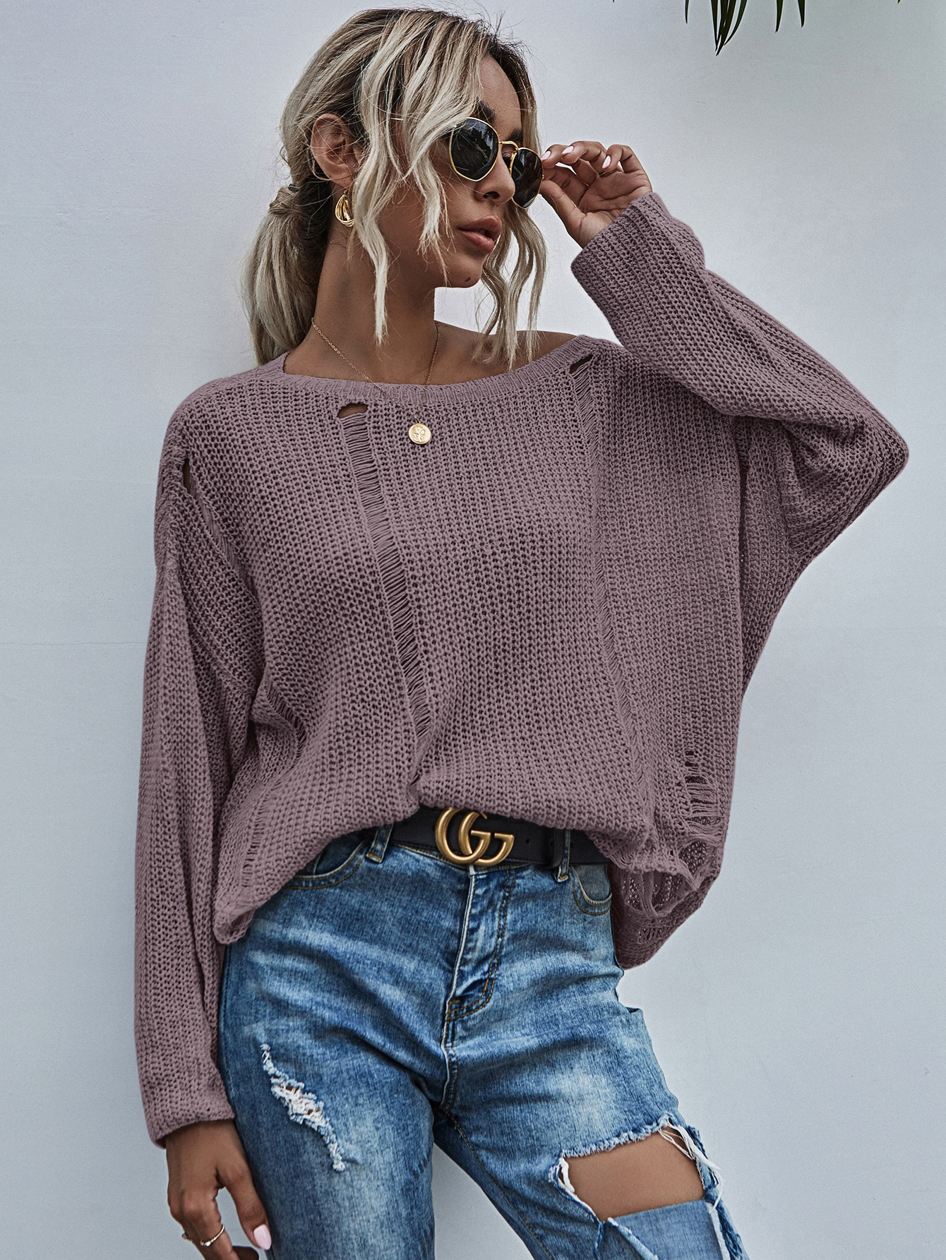 Drop Shoulder Ripped Oversized Sweater thumbnail