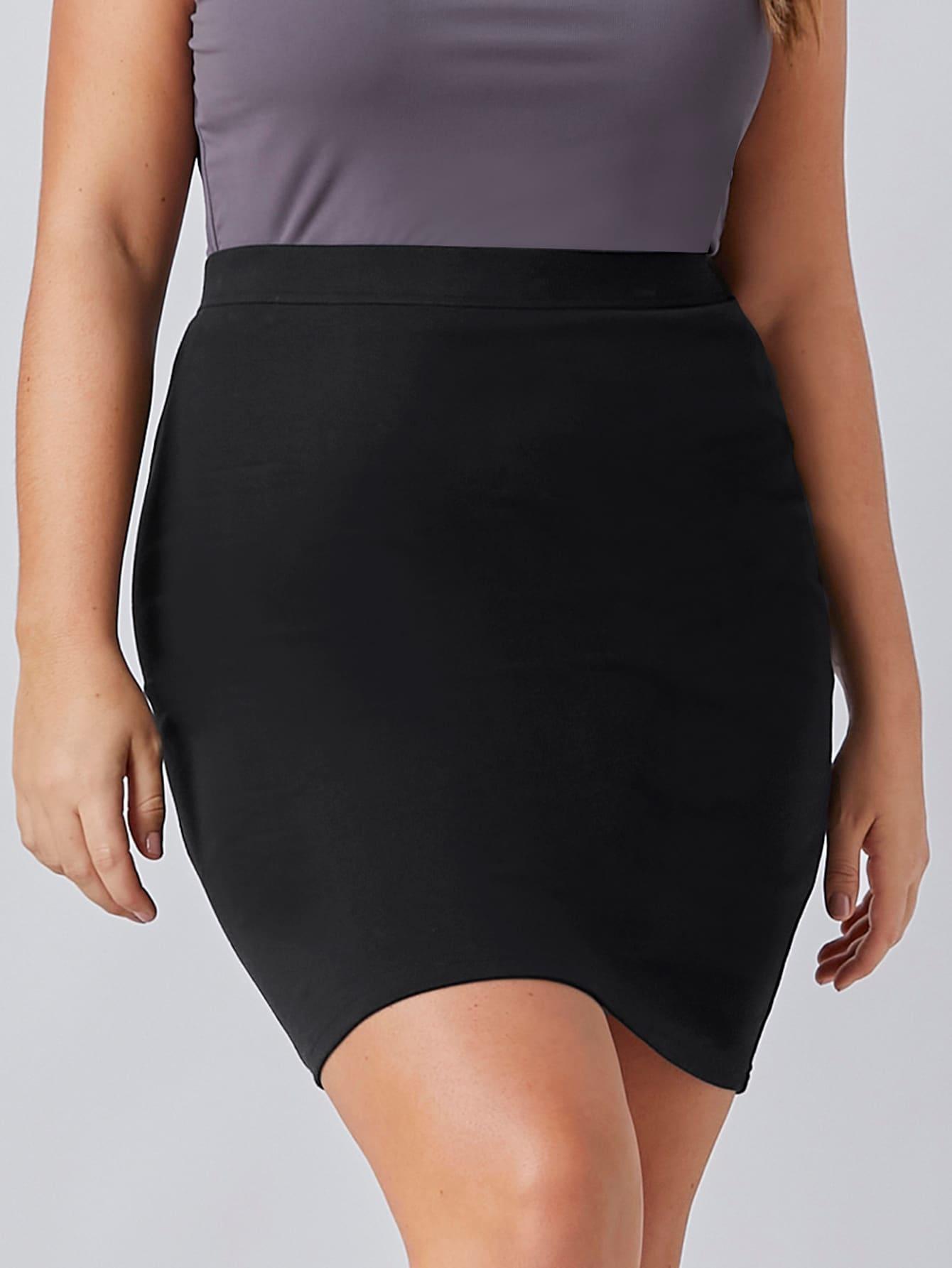 Plus Solid Bodycon Skirt thumbnail
