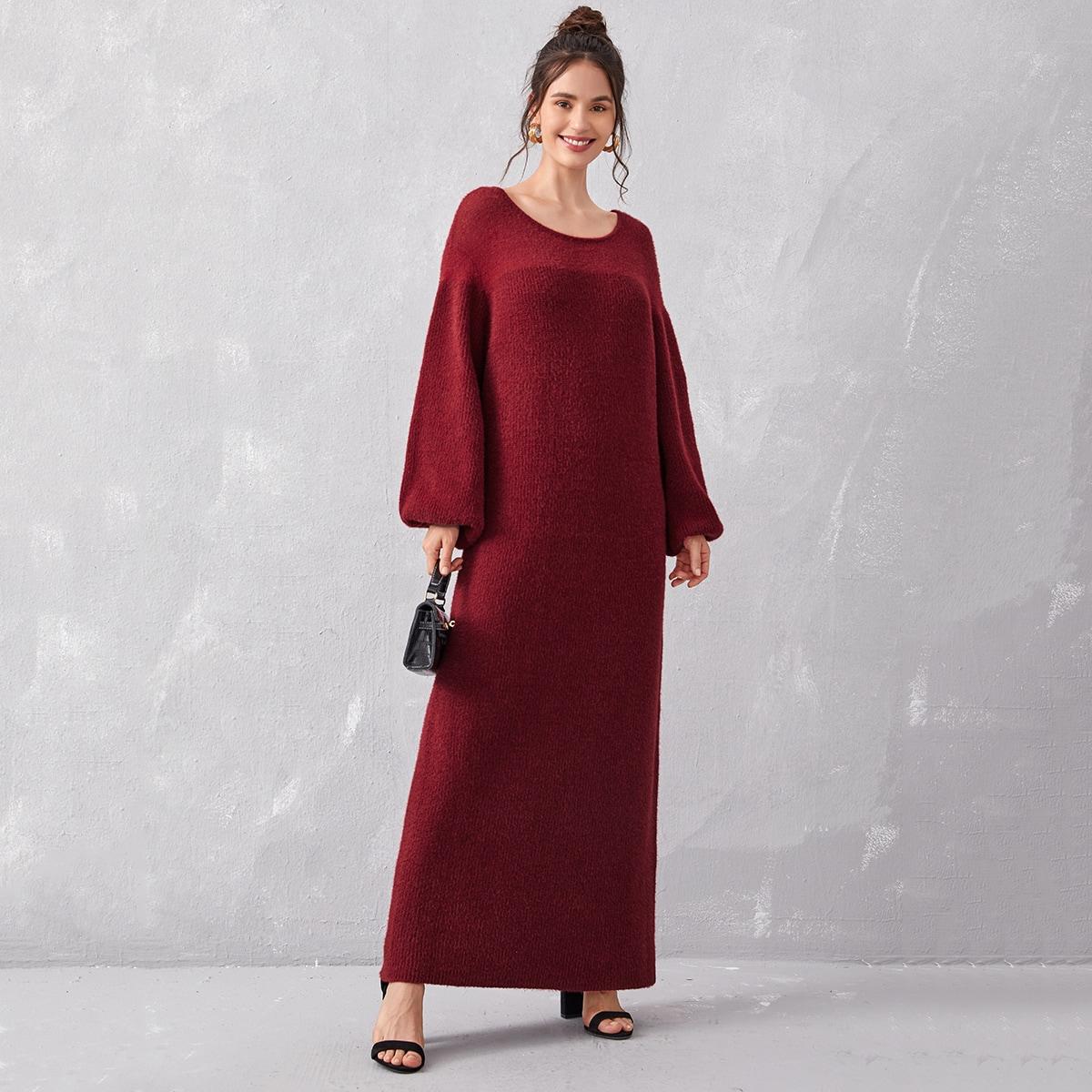 Однотонное платье-свитер