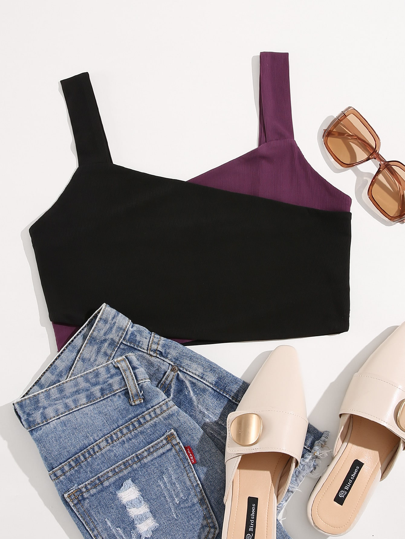 Colorblock Crop Rib-knit Tank Top thumbnail