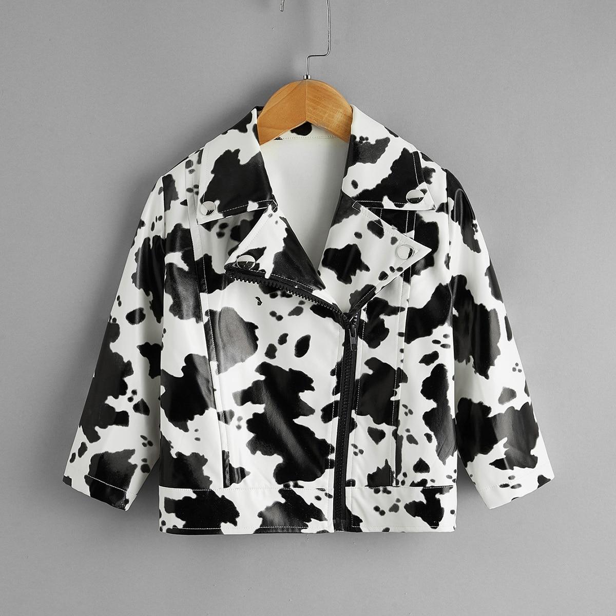 На молнии животный повседневный куртки для девочек