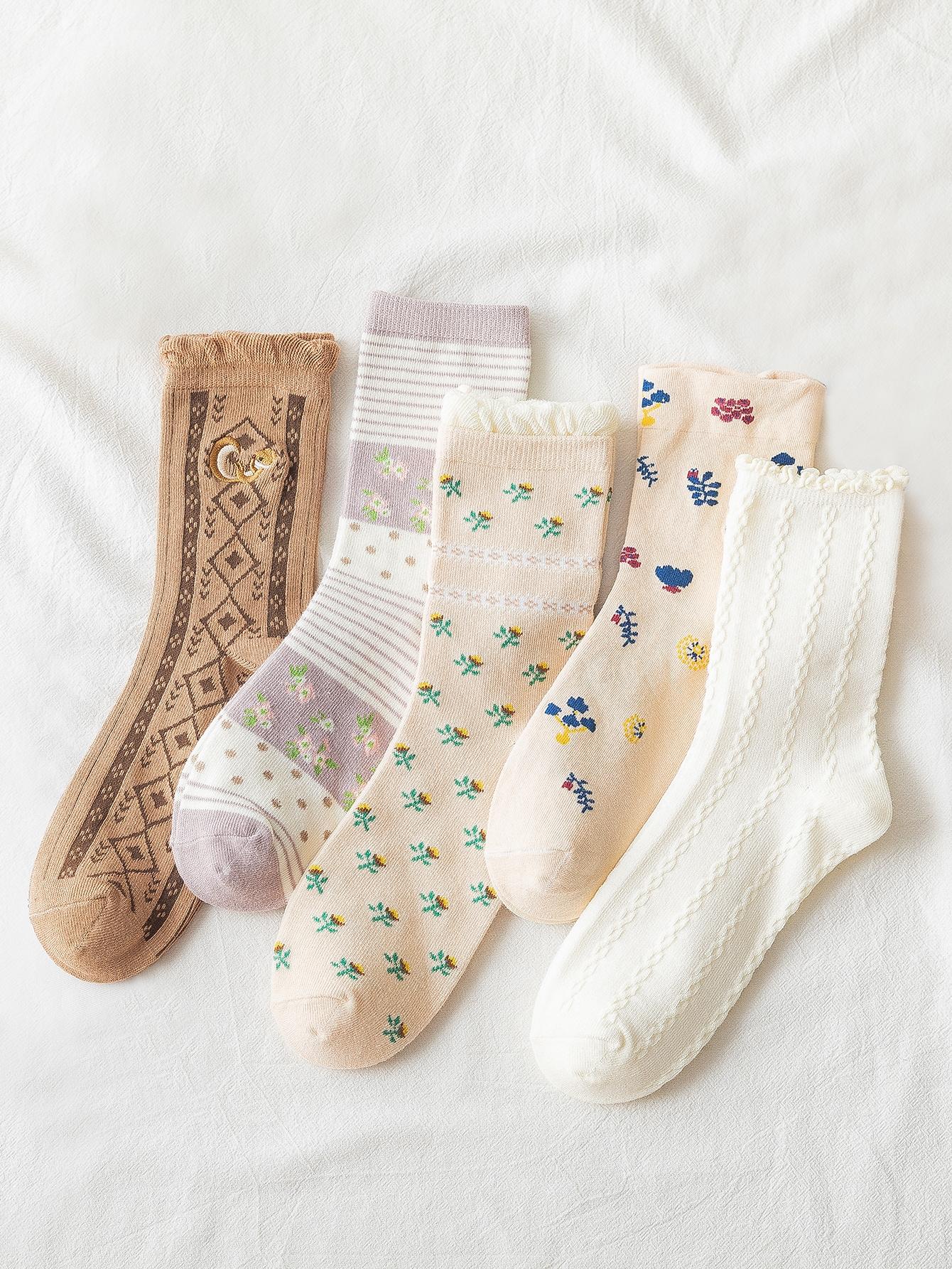 5pairs Ditsy Floral Pattern Socks thumbnail