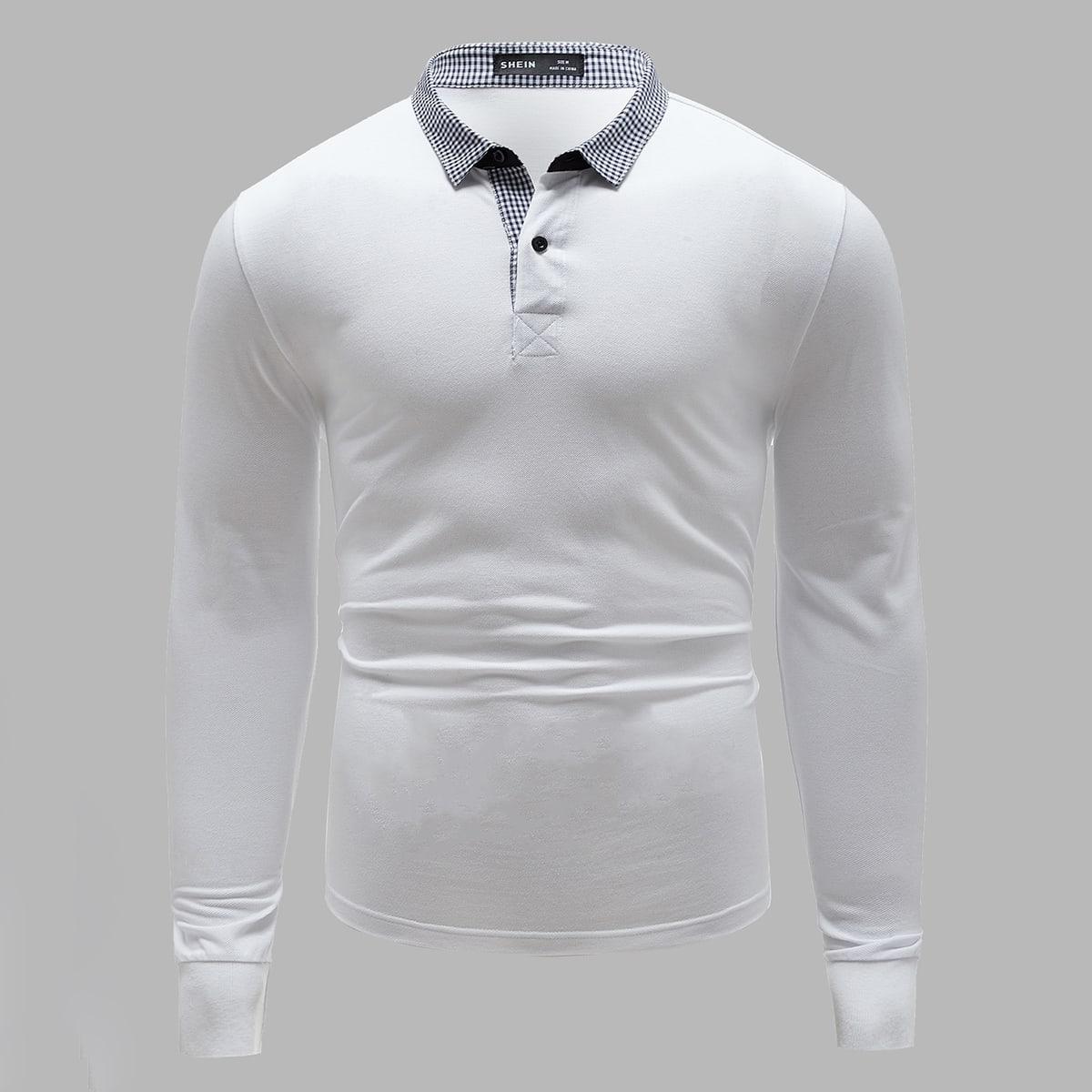 Пуговица клетчатый повседневный мужская рубашка-поло