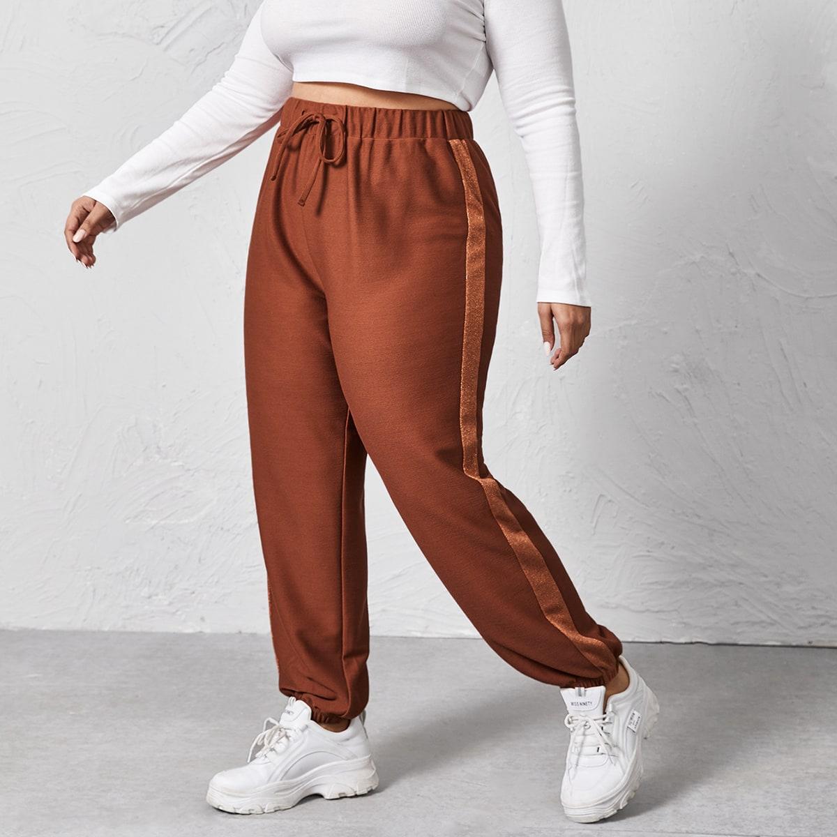 На кулиске контрастный цвет повседневный брюки размер плюс