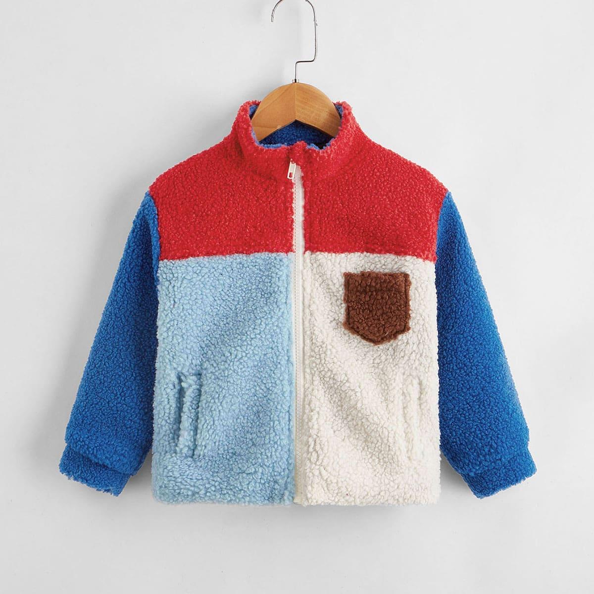 На молнии контрастный цвет повседневный пальто для маленьких мальчиков