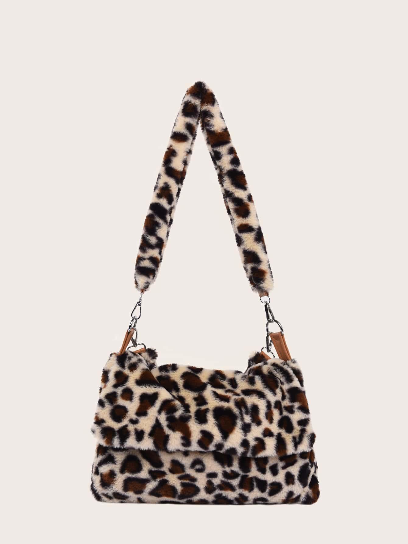 Leopard Flap Fluffy Crossbody Bag thumbnail
