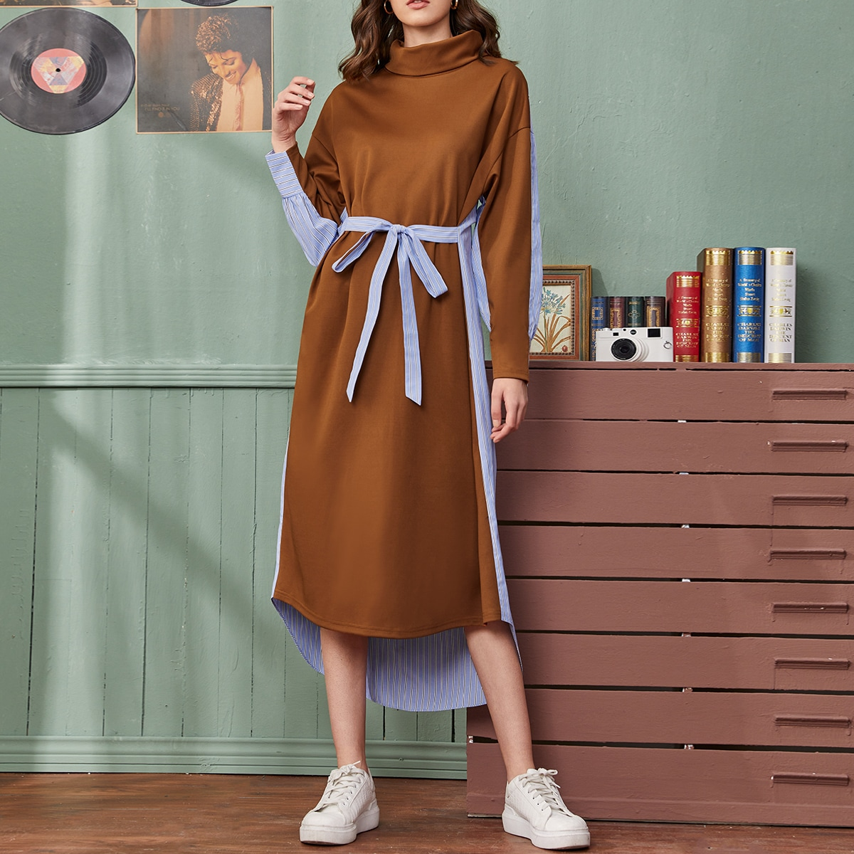 Funnel Neck High Low Hem Colorblock Belted Dress