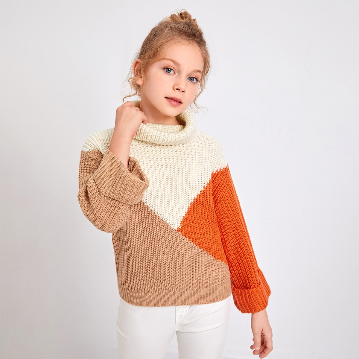 Трикотажный контрастный цвет повседневный свитера для девочек