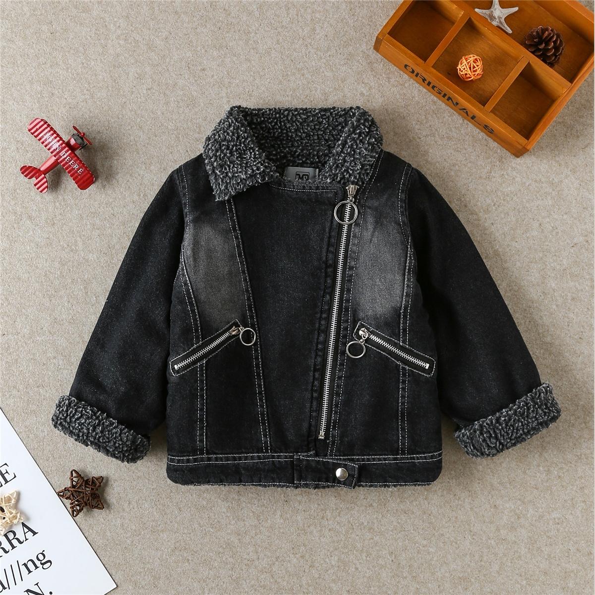 Джинсовая куртка-мото с плюшевой отделкой для мальчиков