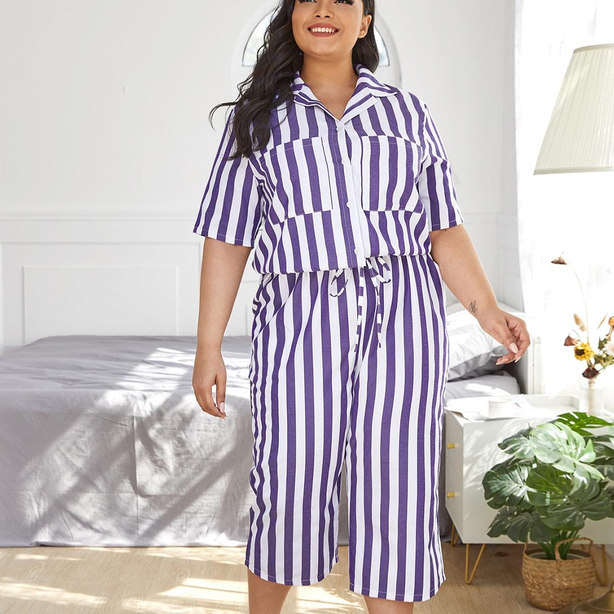 Пижама размера плюс в полоску