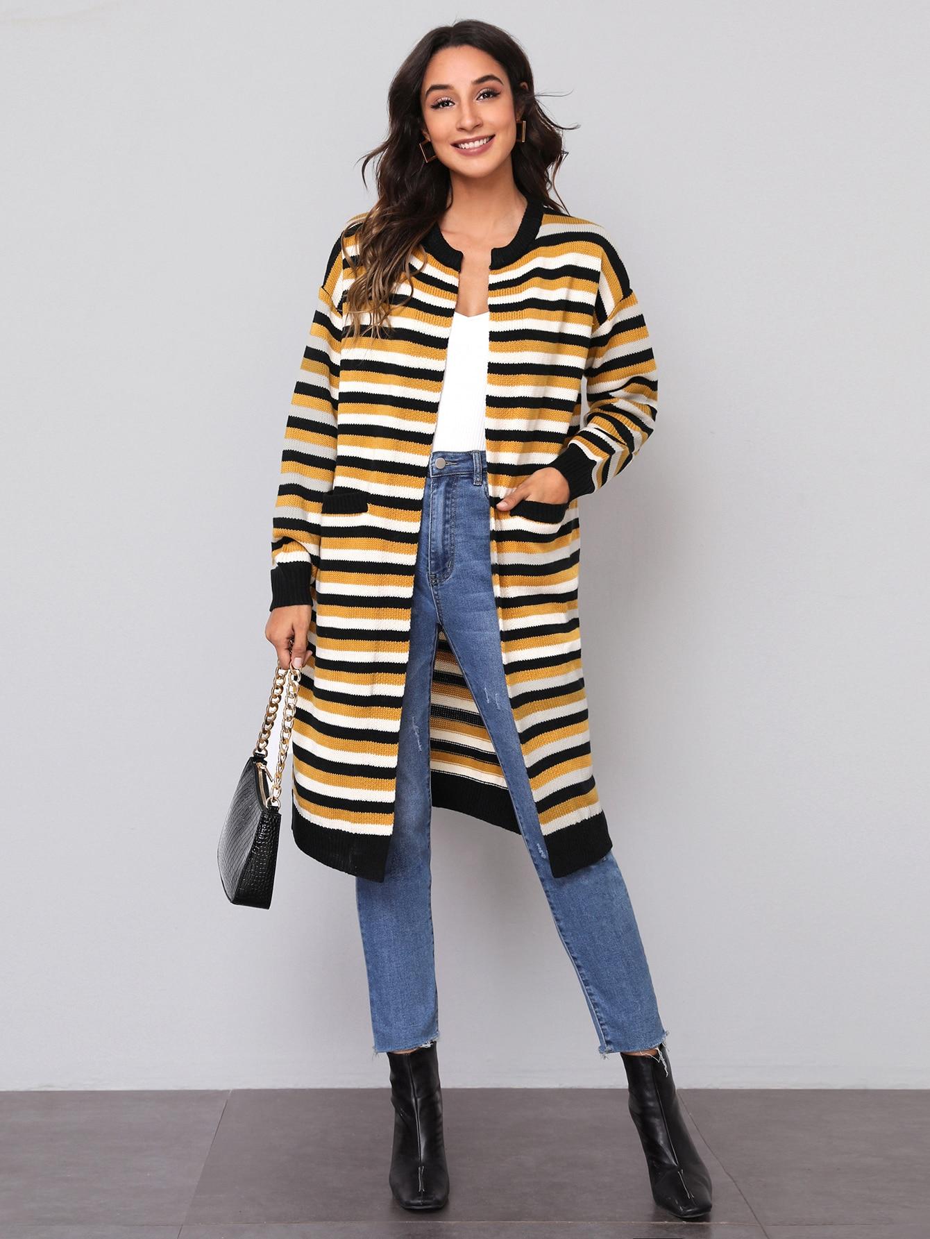 Drop Shoulder Pocket Front Striped Cardigan thumbnail