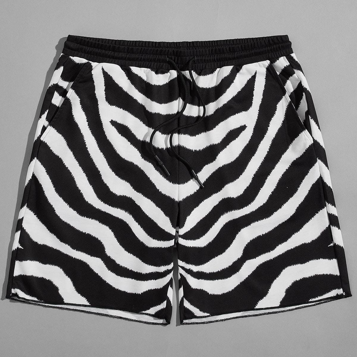Карман в полоску зебры улица мужские шорты