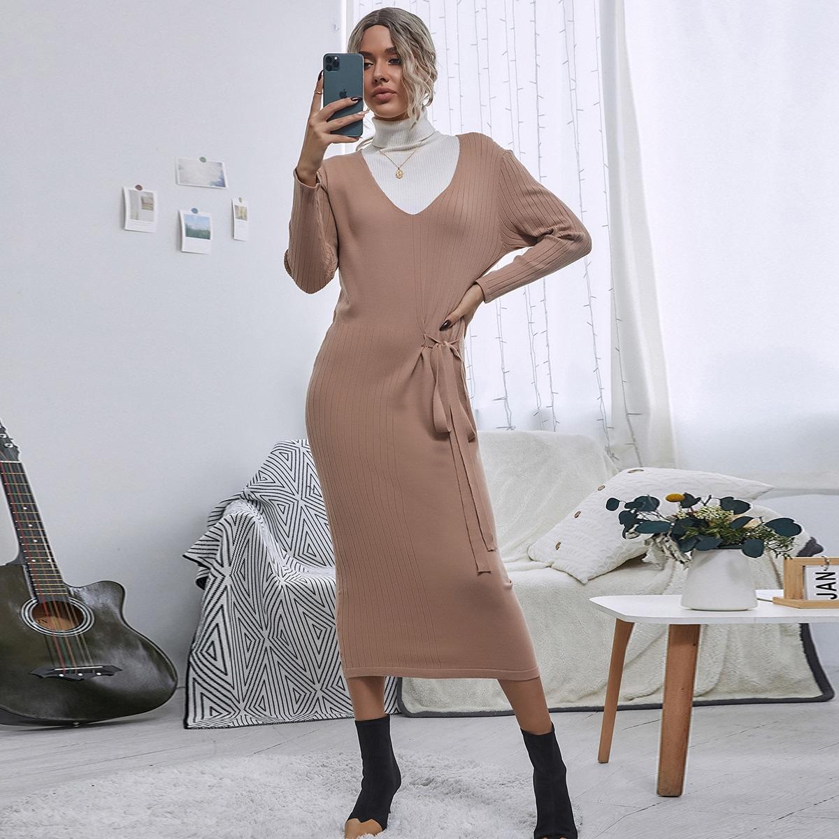 Узел одноцветный повседневный платья-свитеры