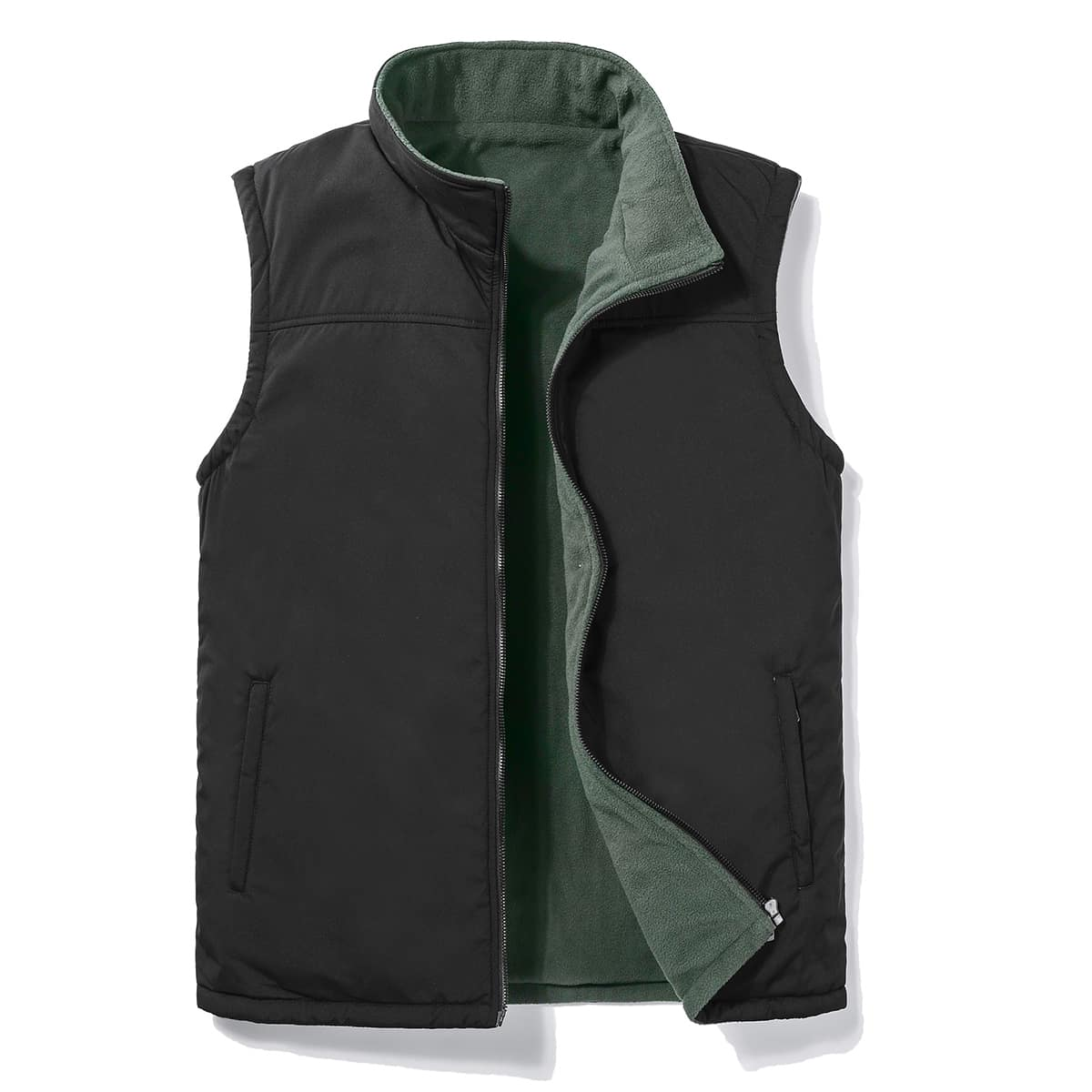 Men Zip Up Slant Pocket Thermal Vest Jacket