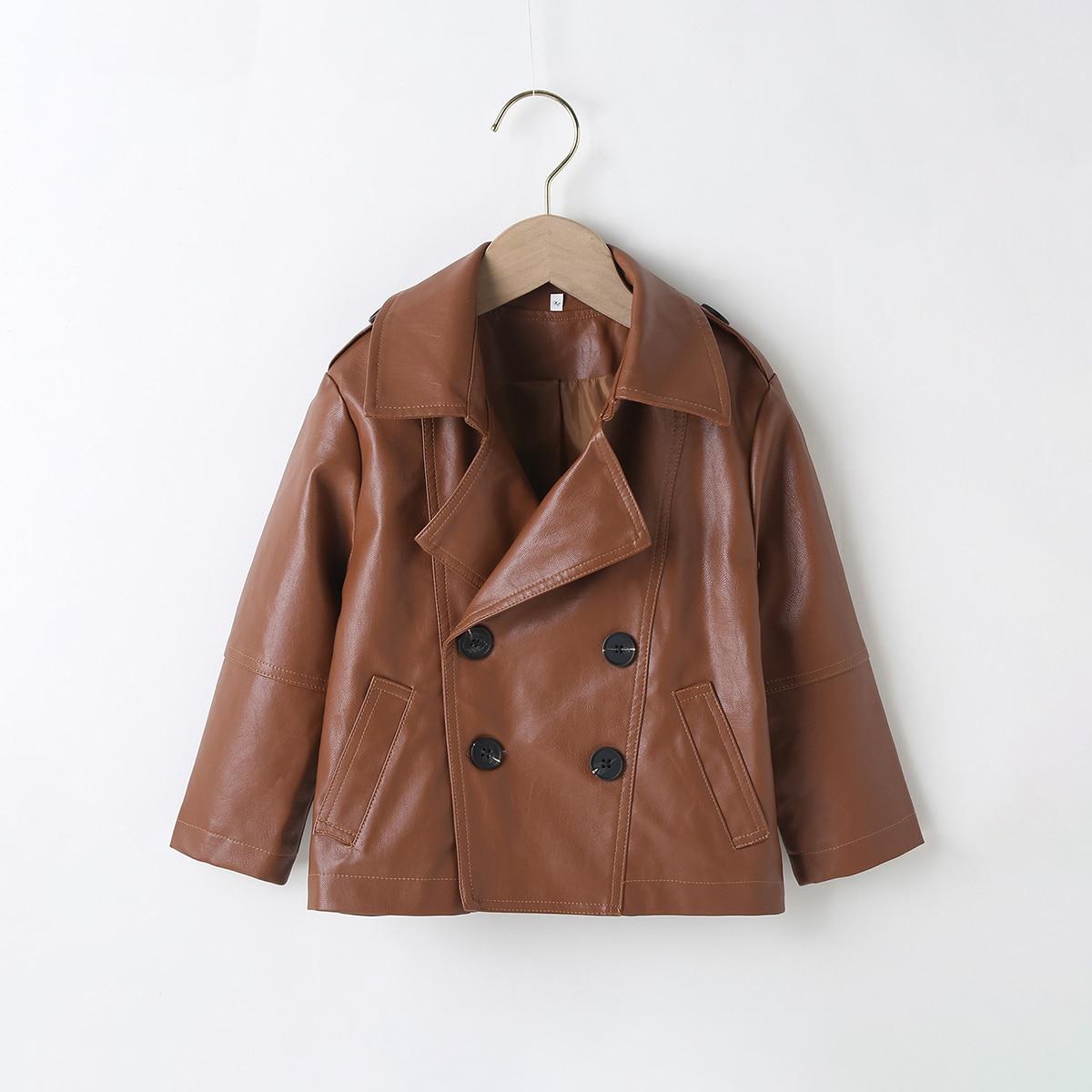 Двойная пуговица одноцветный повседневный куртки для девочек
