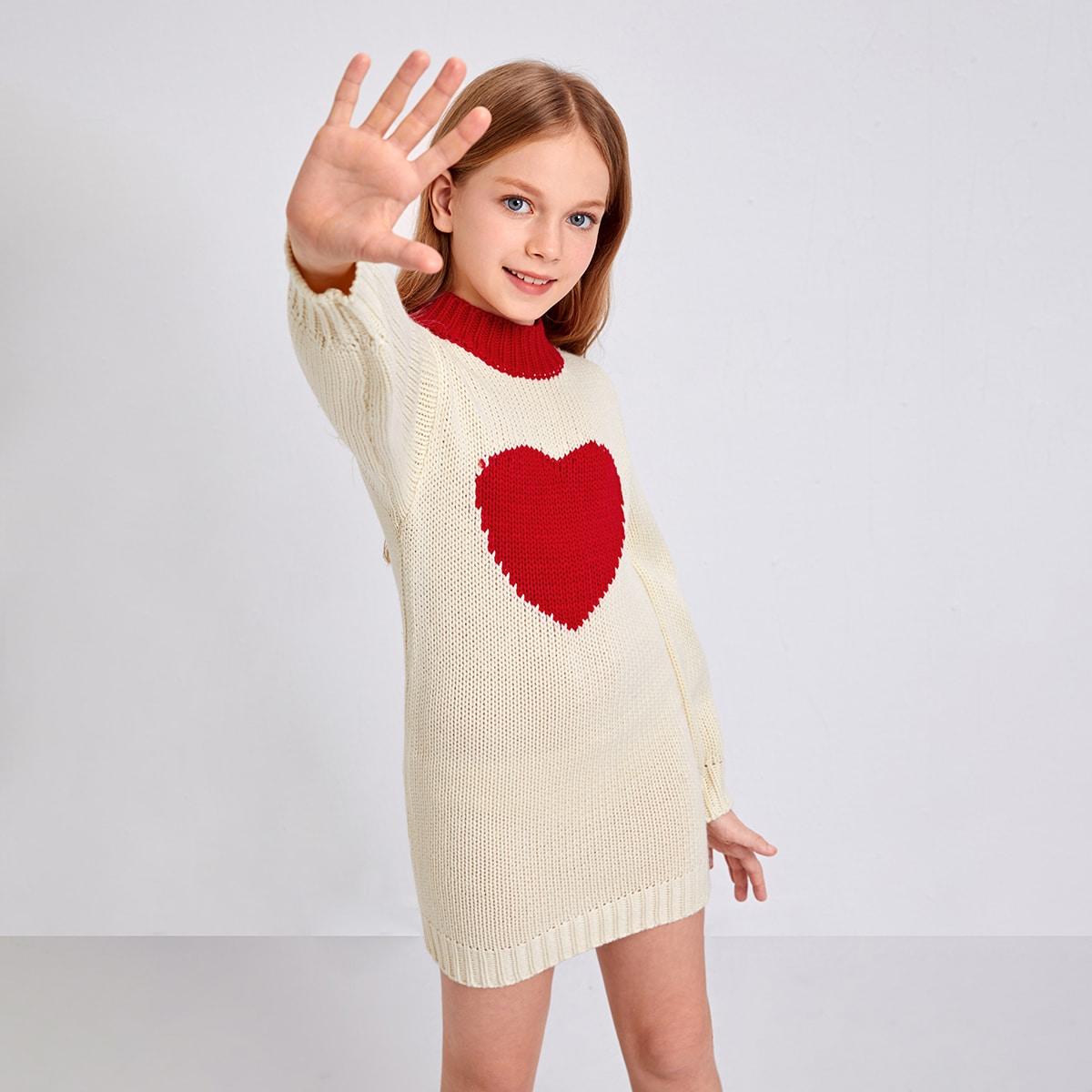 Сердечко повседневный трикотажные платья для девочек