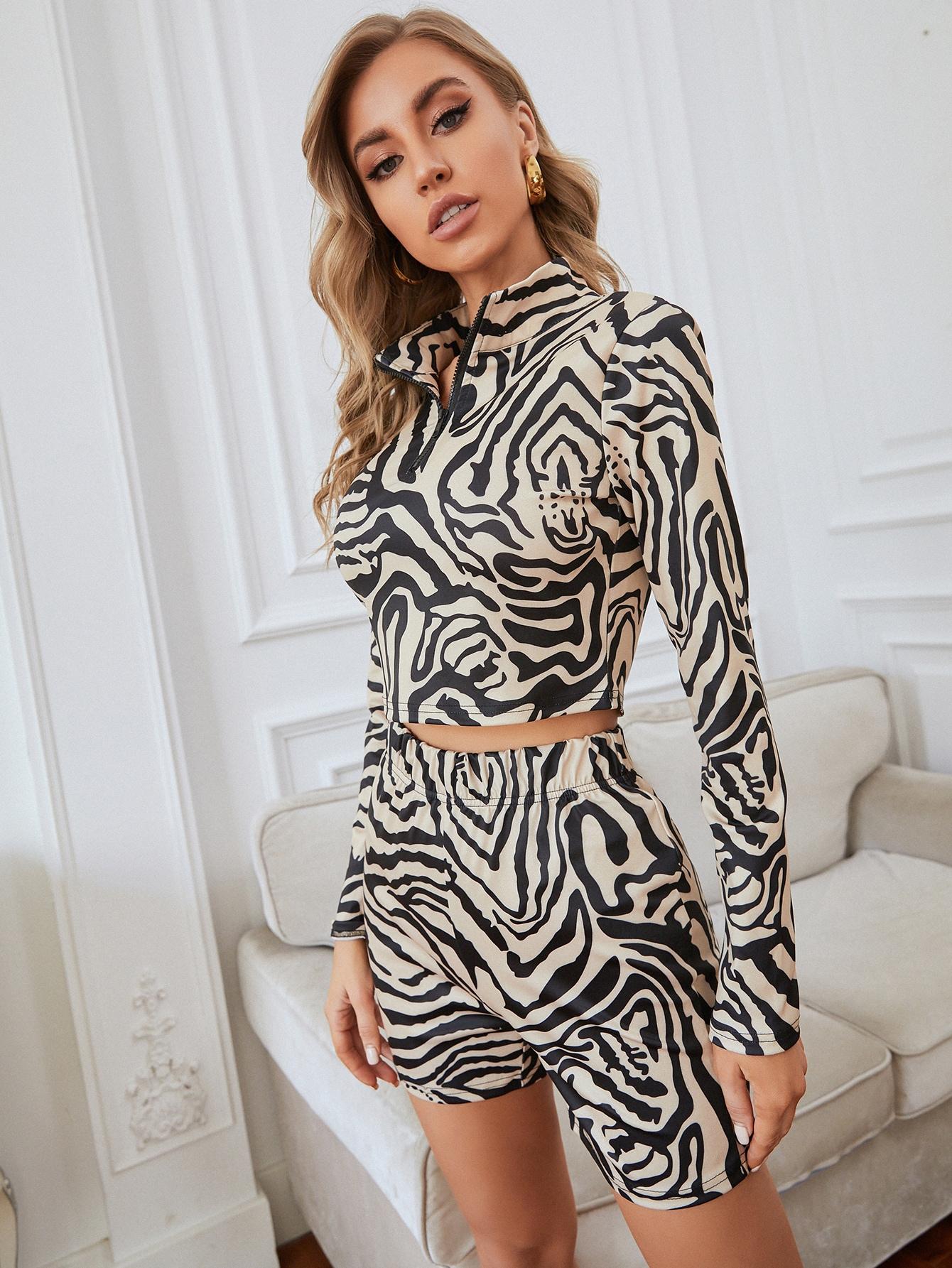 zebra striped half zip top with shorts
