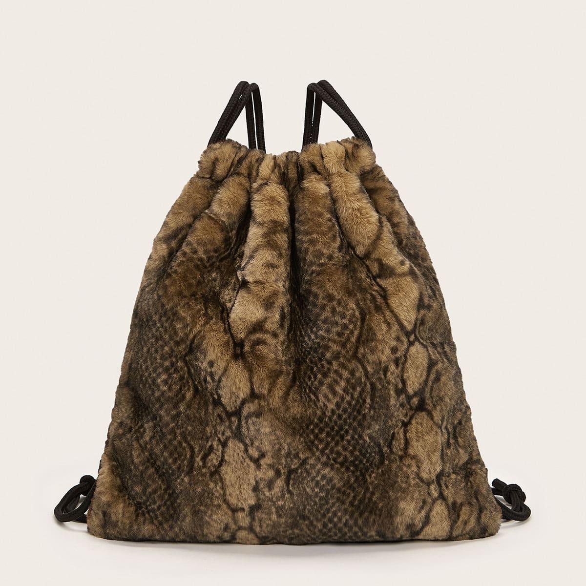 Пллюшевый рюкзак на кулиске со змеиным принтом