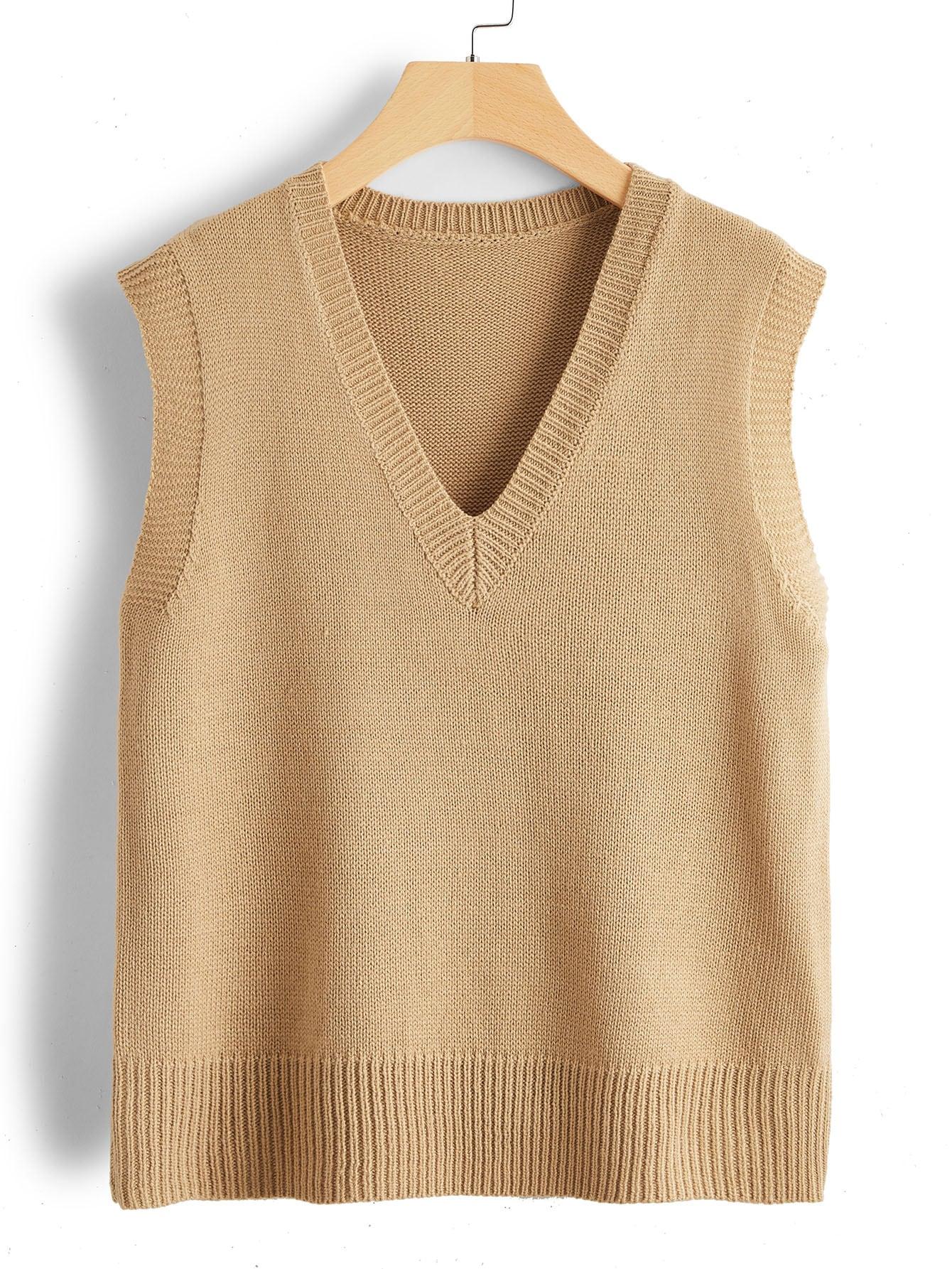 V Neck Solid Sweater Vest thumbnail
