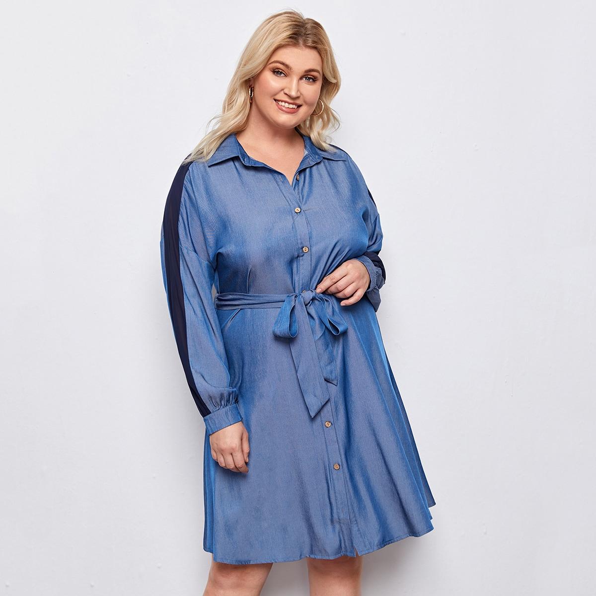 С поясом контрастный цвет повседневный джинсовые платья размер плюс
