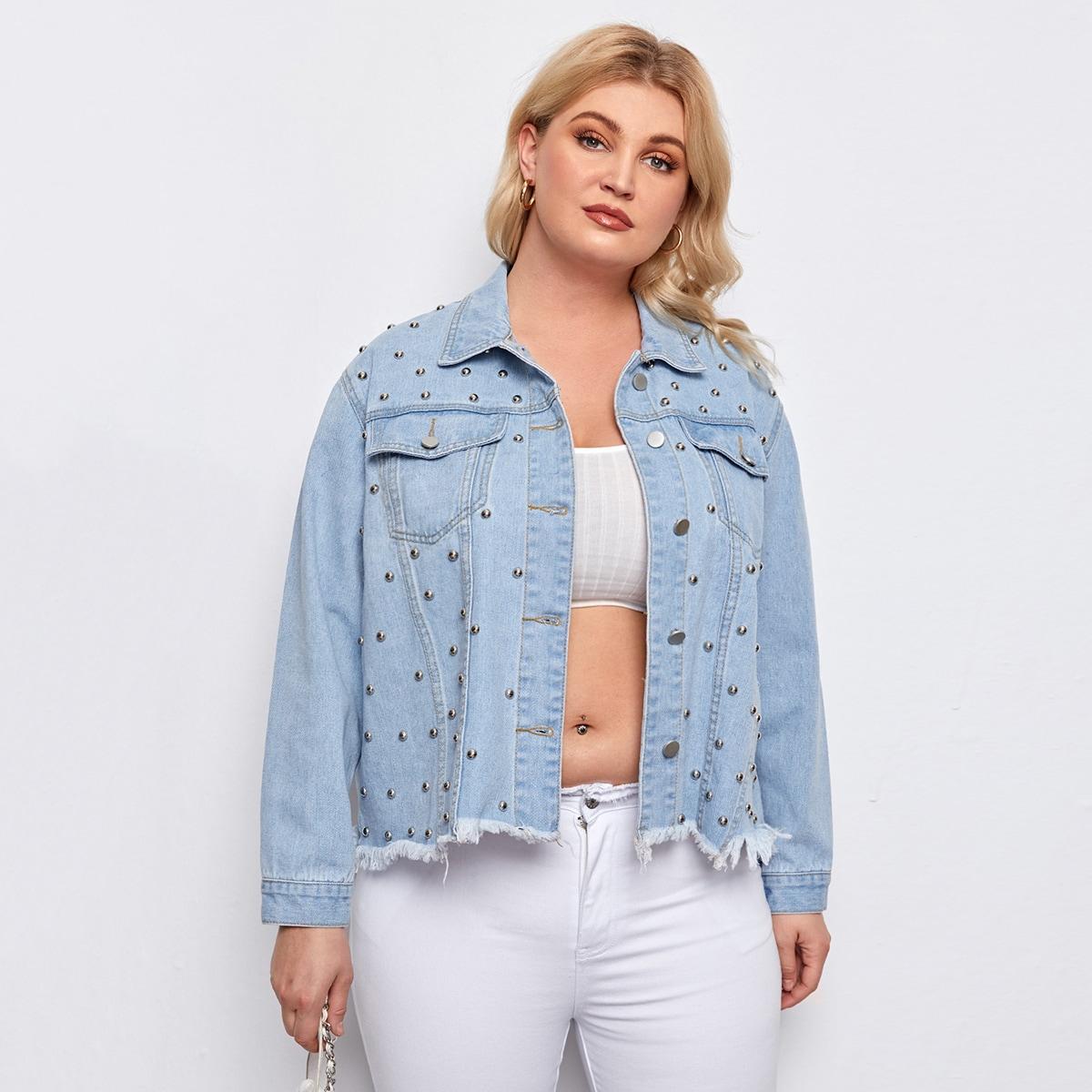 С бисером одноцветный повседневный джинсовая куртка размера плюс