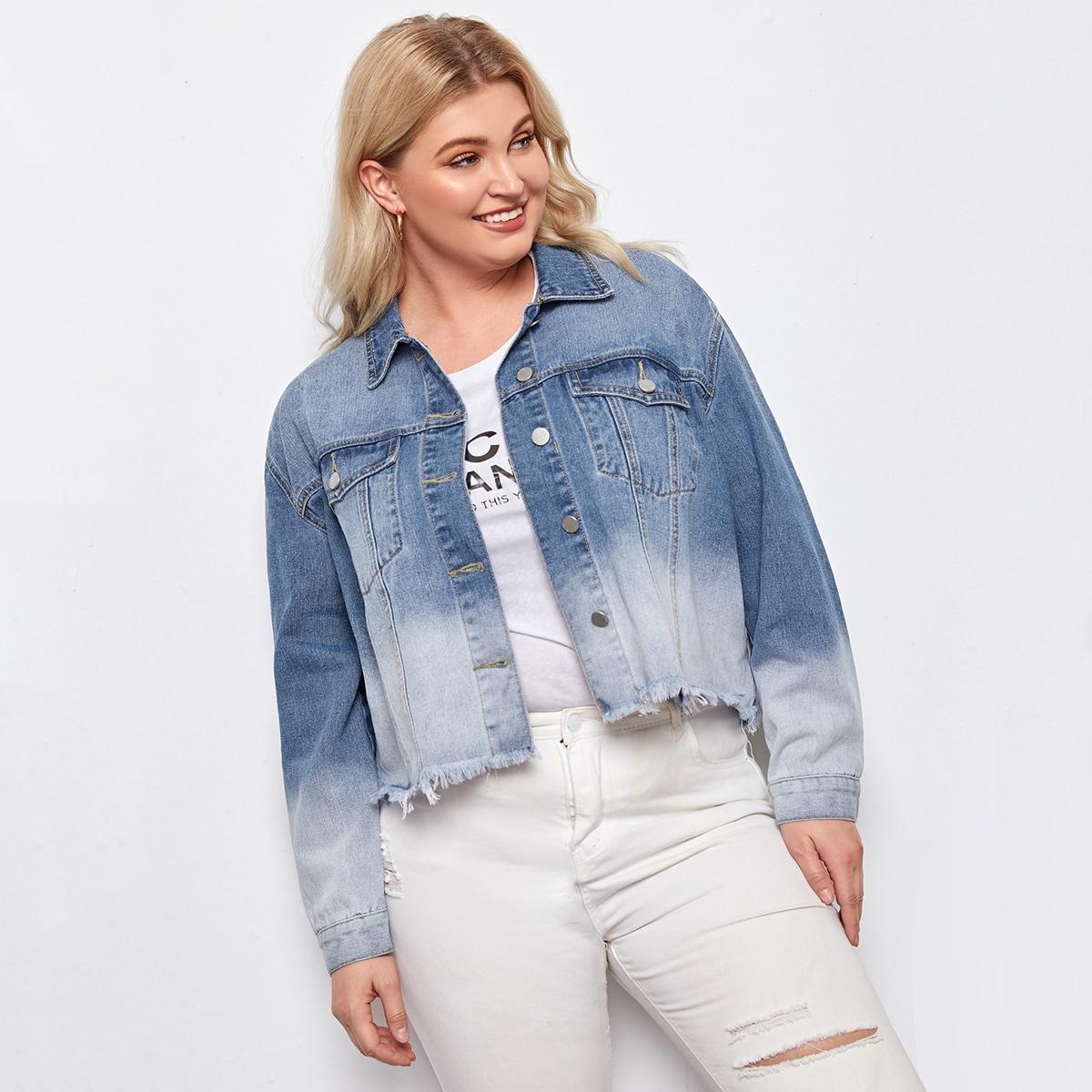 С карманами градиент цветовой повседневный джинсовая куртка размера плюс