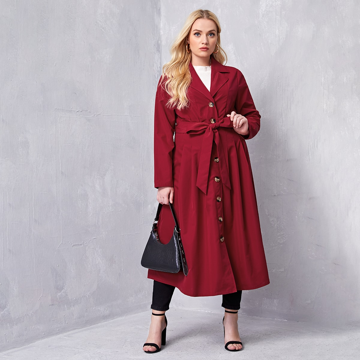 Plus Single Breasted Belted Coat