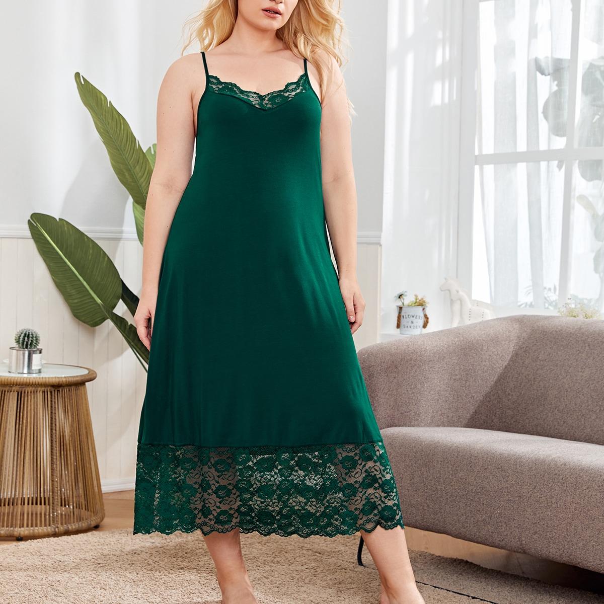Пижама большого размера с кружевной отделкой