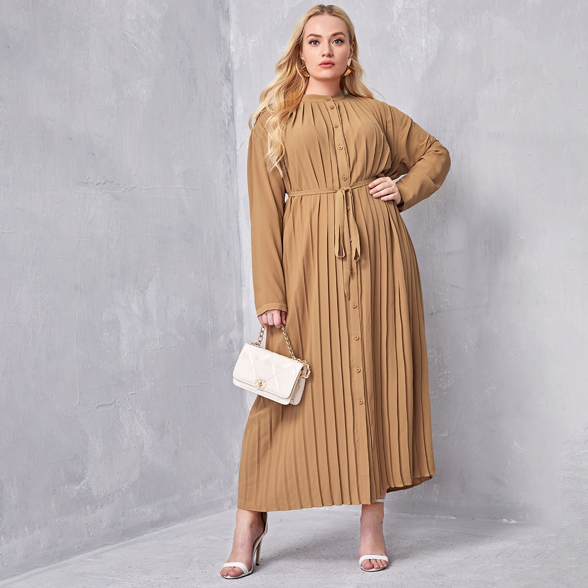 Plus Single Breasted Pleated Belted Dress, SHEIN  - buy with discount