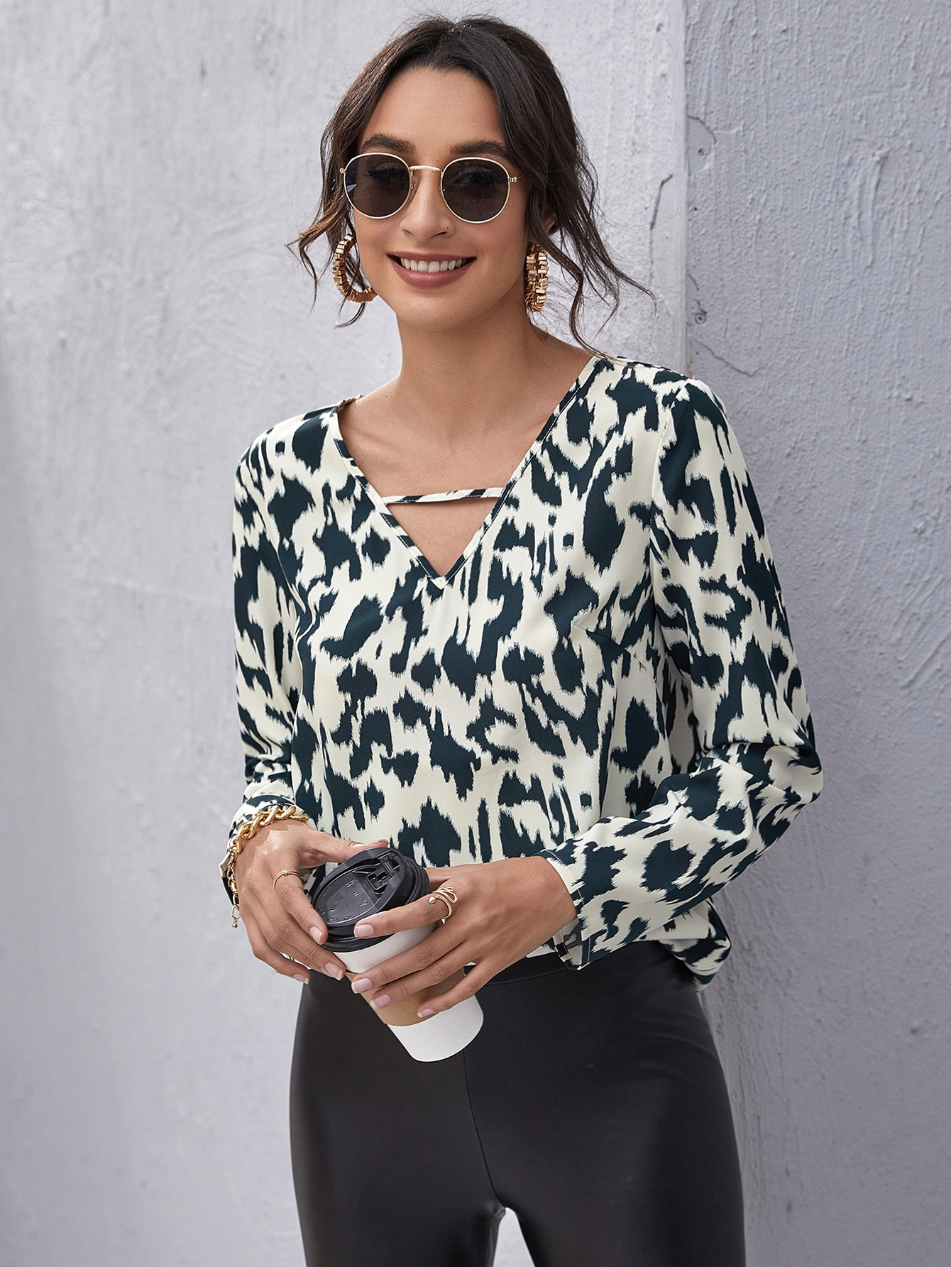 Keyhole Neck Allover Print Top thumbnail