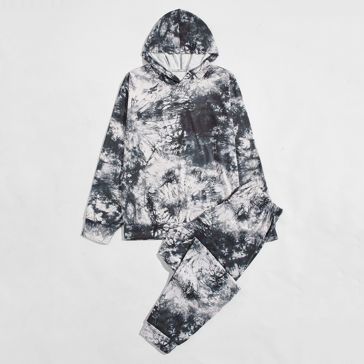 Men Tie Dye Hooded Sweatshirt With Sweatpants