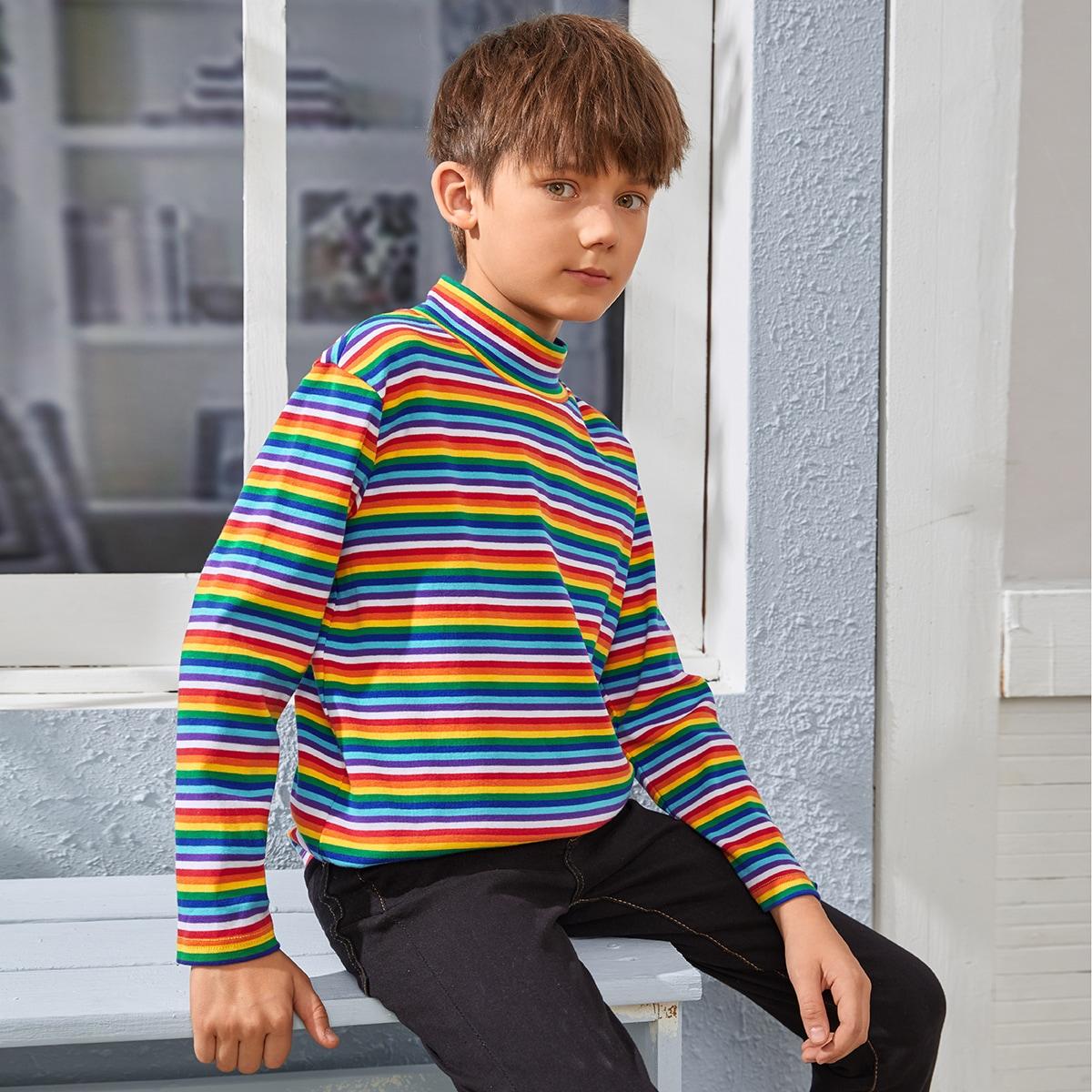 Радужные полосы повседневный футболки для мальчиков