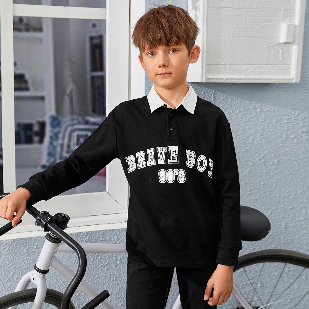 Пуговица буква повседневный рубашки поло для мальчиков